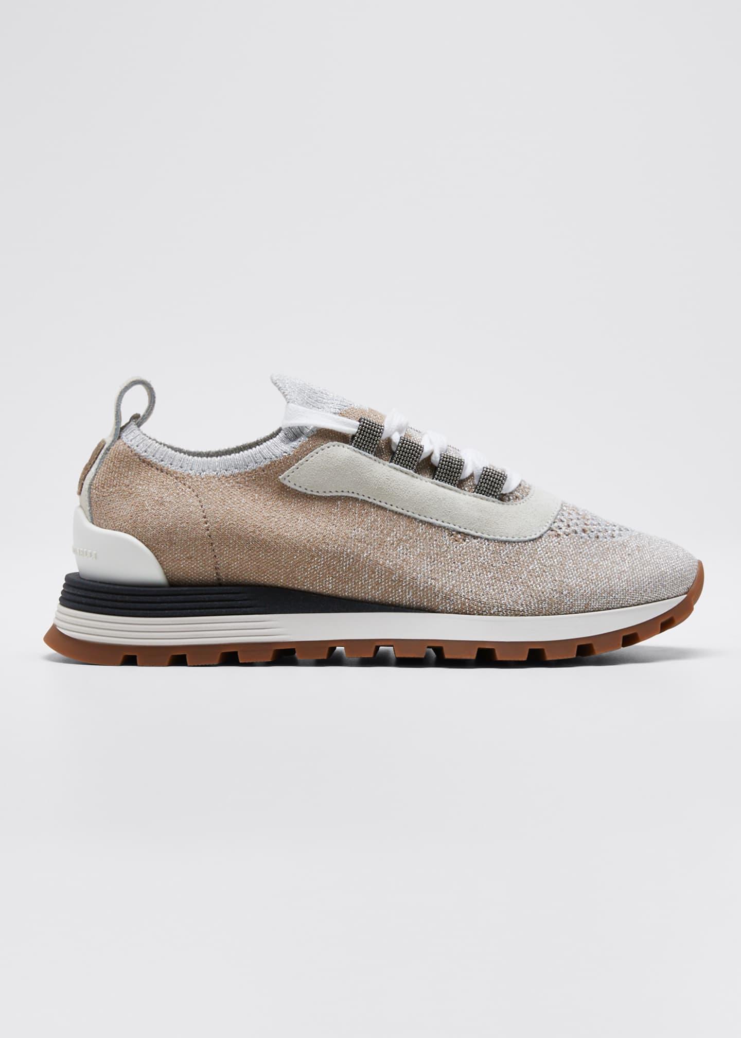 Brunello Cucinelli Knit Lurex Runner Monili Sneakers