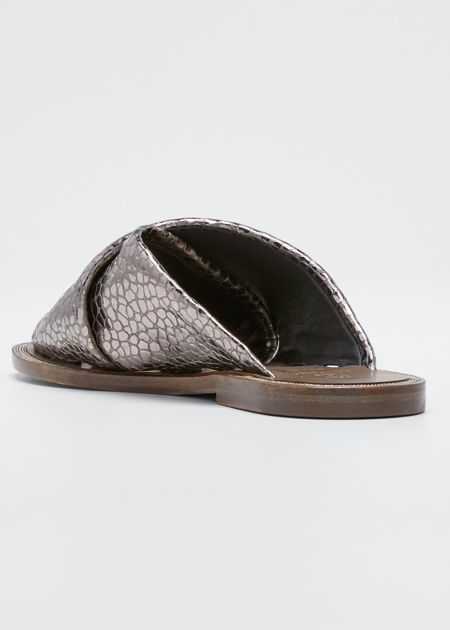 Image 2 of 3: Flat Textured Leather Slide Sandals