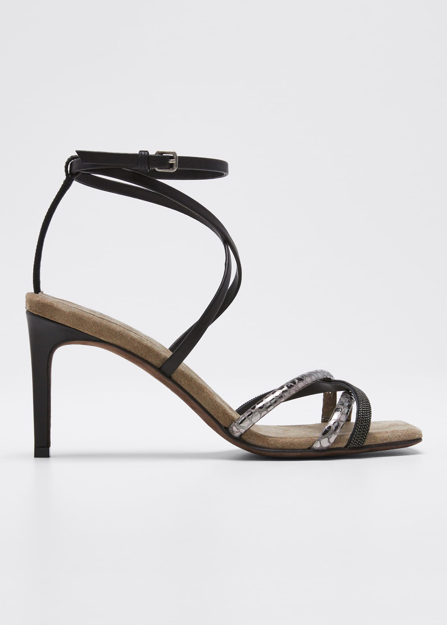 Brunello Cucinelli Strappy Leather Ankle Sandals