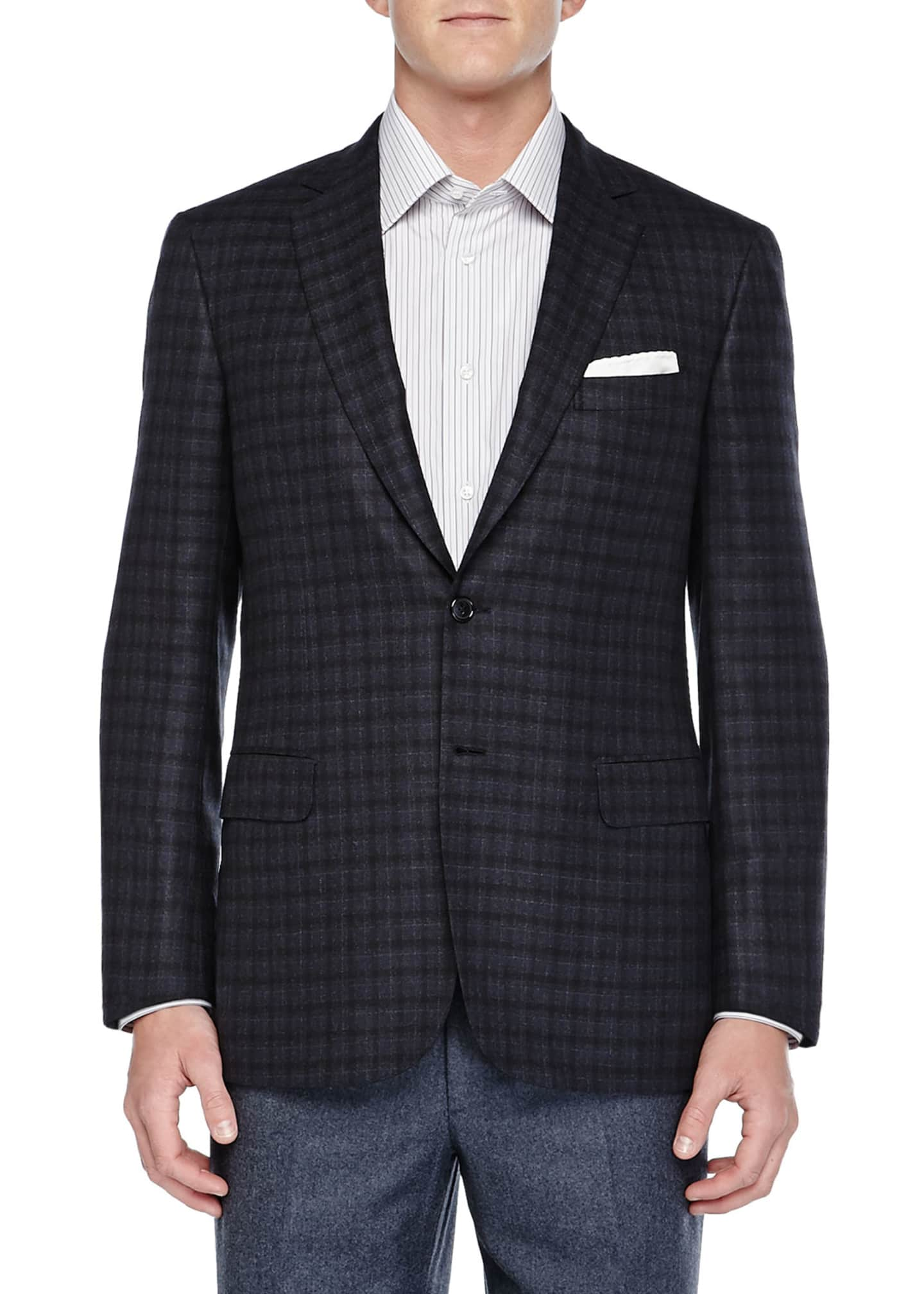 Brioni Check Two-Button Jacket, Charcoal/Navy