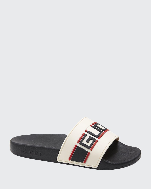 Gucci St. Nastro Sport Slide Sandals, Toddler/kids In White