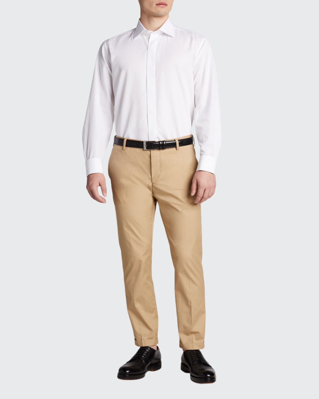Men's Formal Twill Fly-Front Dress Shirt