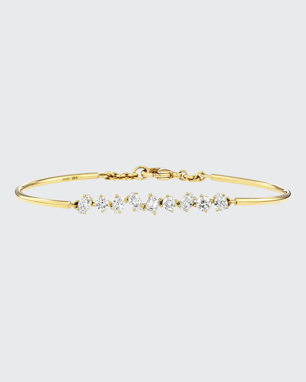 18K Gold Mixed Diamond Bar Wire Bracelet