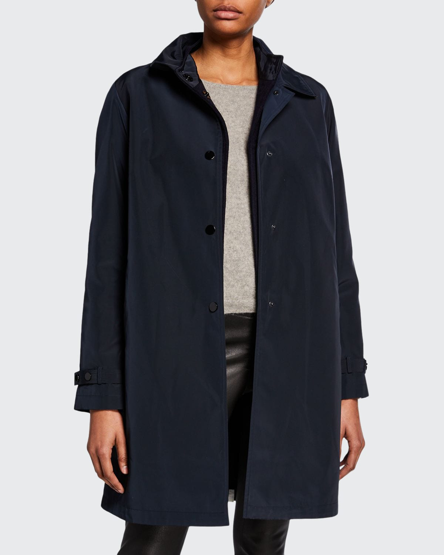 Double Layer Snap-Front Rain Coat
