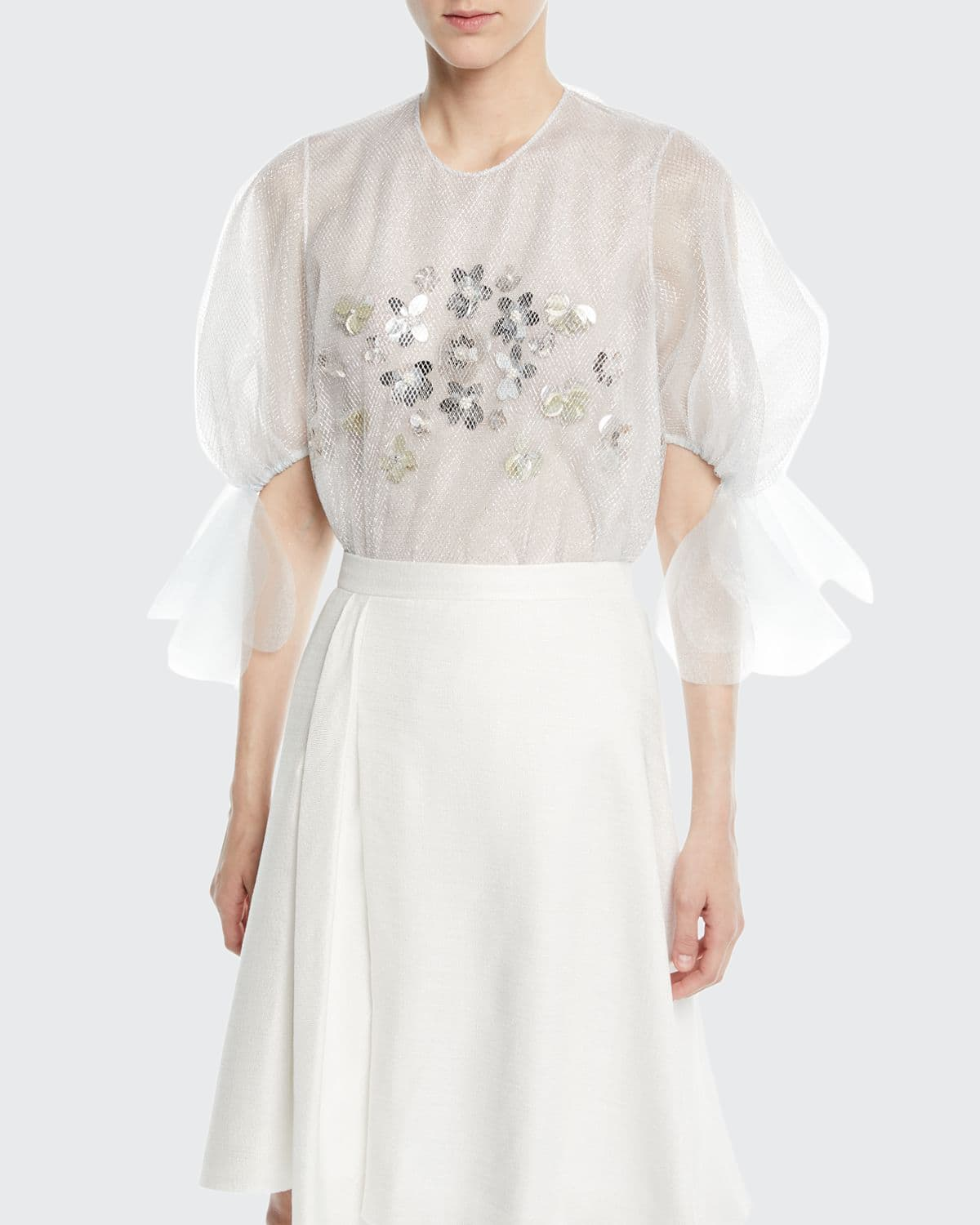 Balloon-Sleeve Mesh Embroidered Top