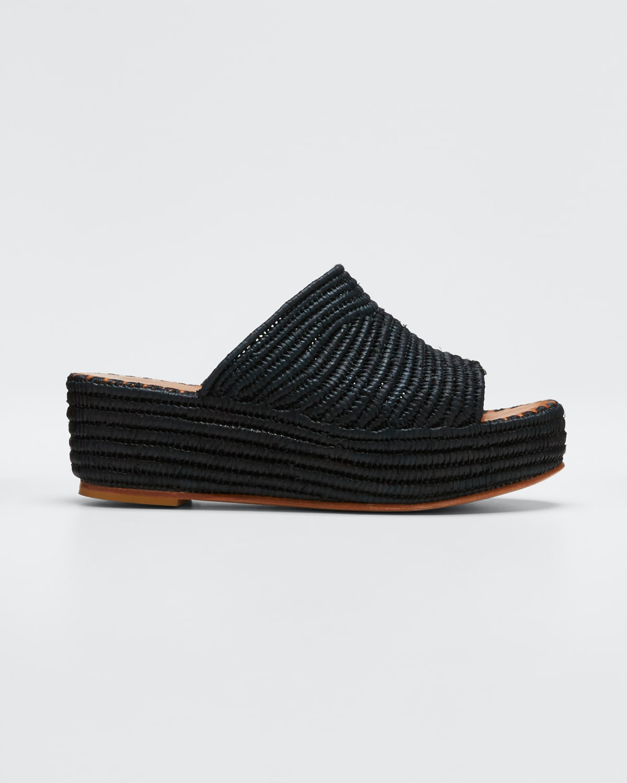 Karim Woven Raffia Wedge Slide Sandals