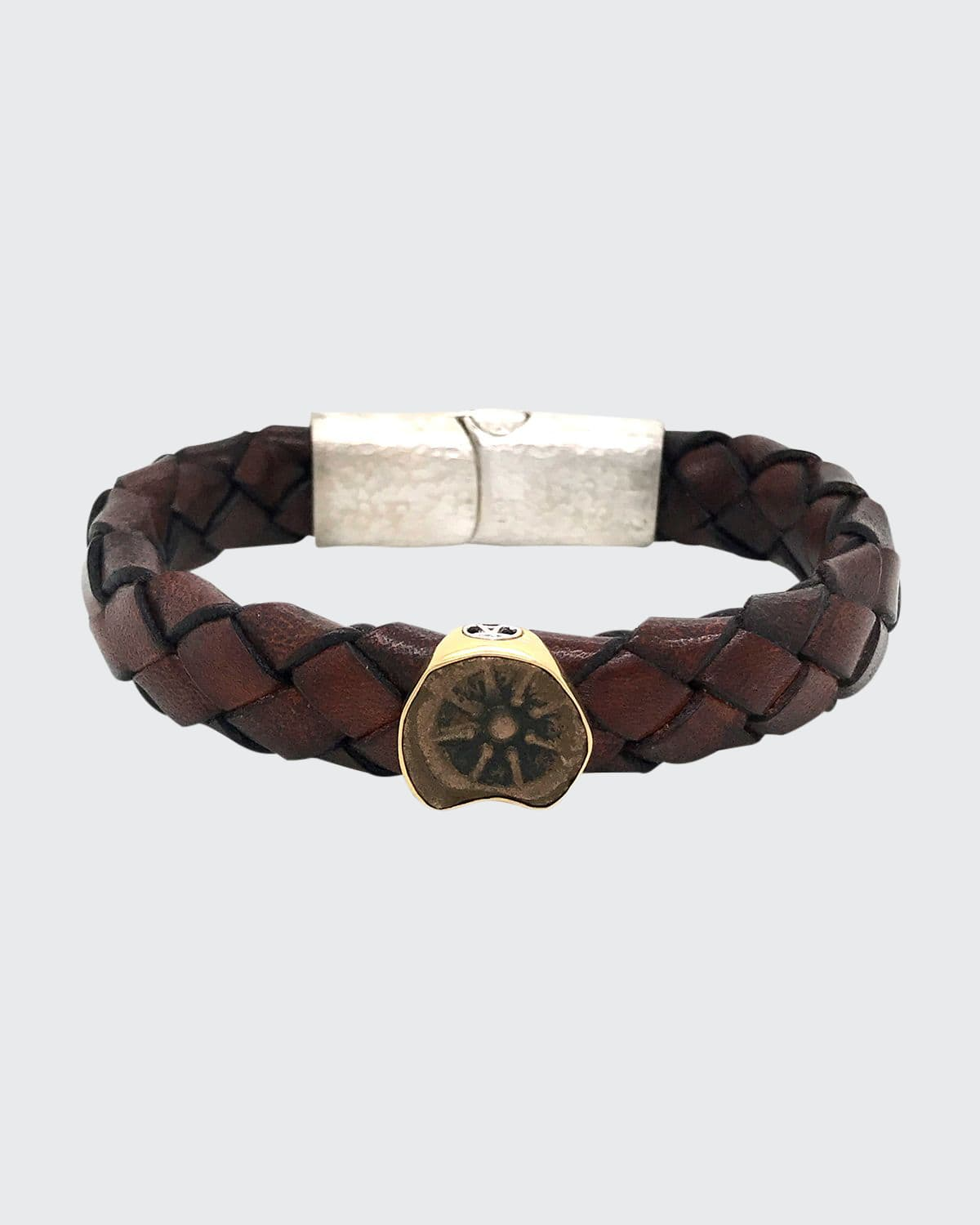 Men's Ancient Charity Coin Braided Leather Bracelet