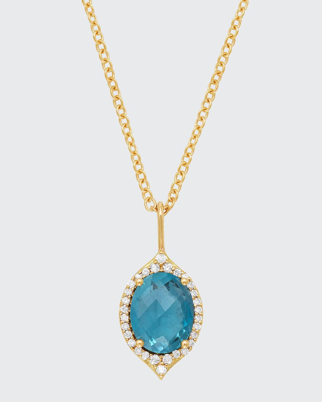 18k Oval Aladdin Pave Necklace w/ Blue Topaz & Diamonds