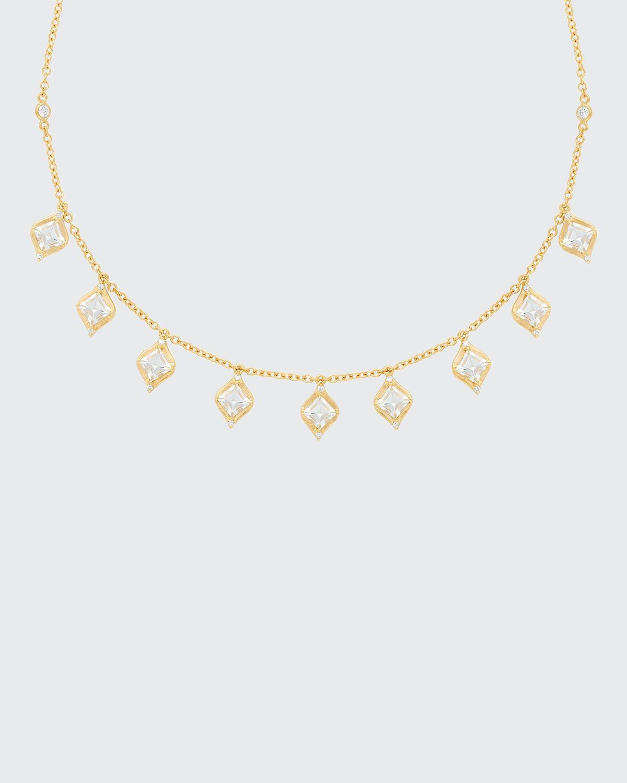 18k Princess-Cut Drop Necklace w/ Diamond & Aquamarine