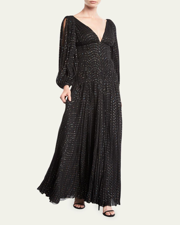 V-Neck Puff-Sleeve Fitted-Waist Metallic-Dot Evening Gown