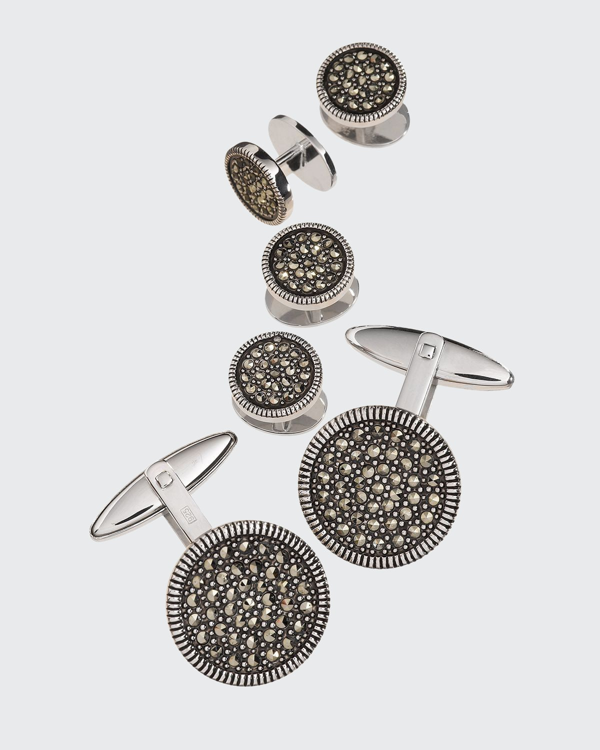 Round Marcasite Cuff Link and Stud Set