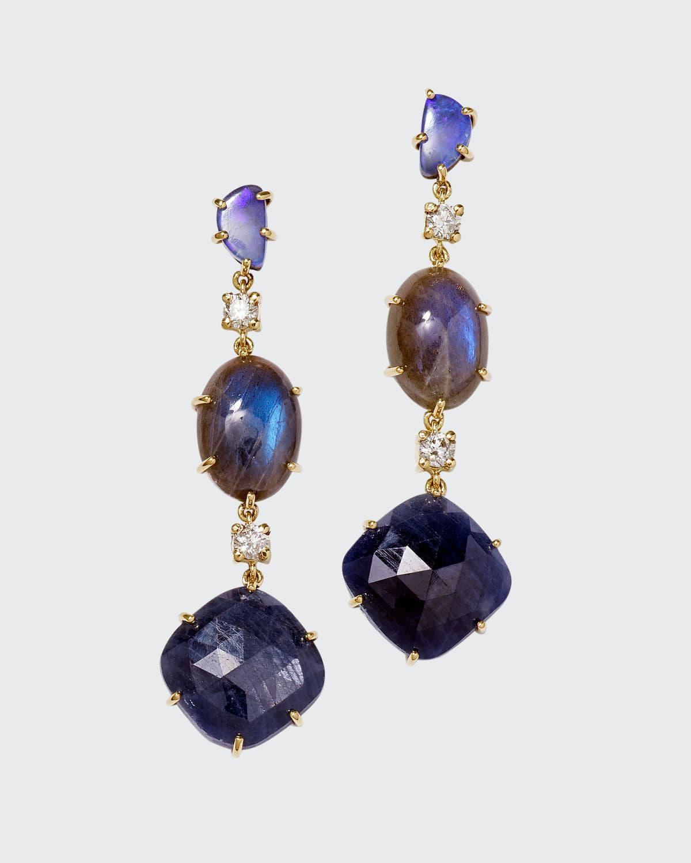 18k Bespoke One-of-a-Kind Luxury 3-Tier Earring with Boulder Opal