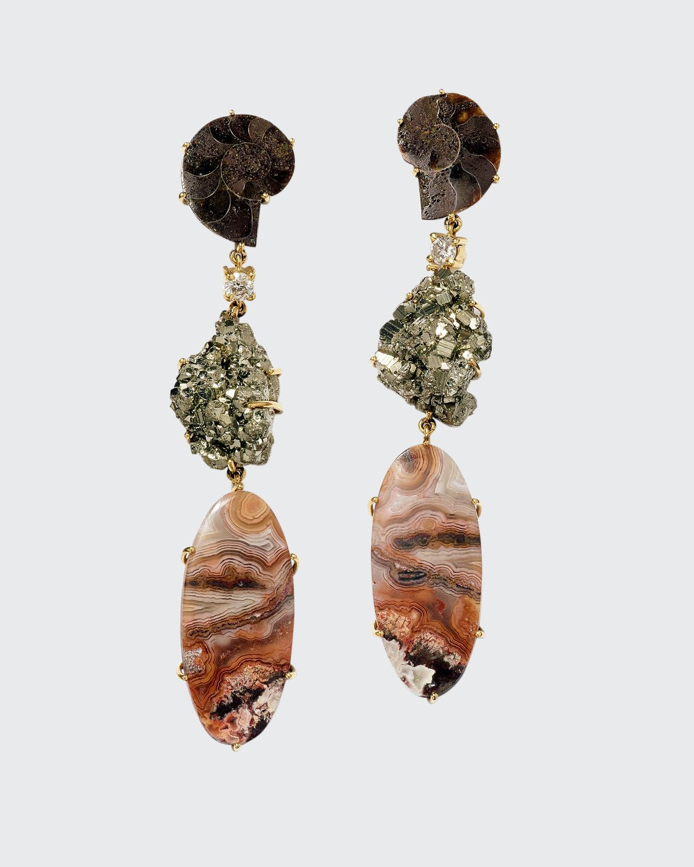 18K Bespoke One-of-a-Kind Luxury 3-Tier Earring with Ammonite