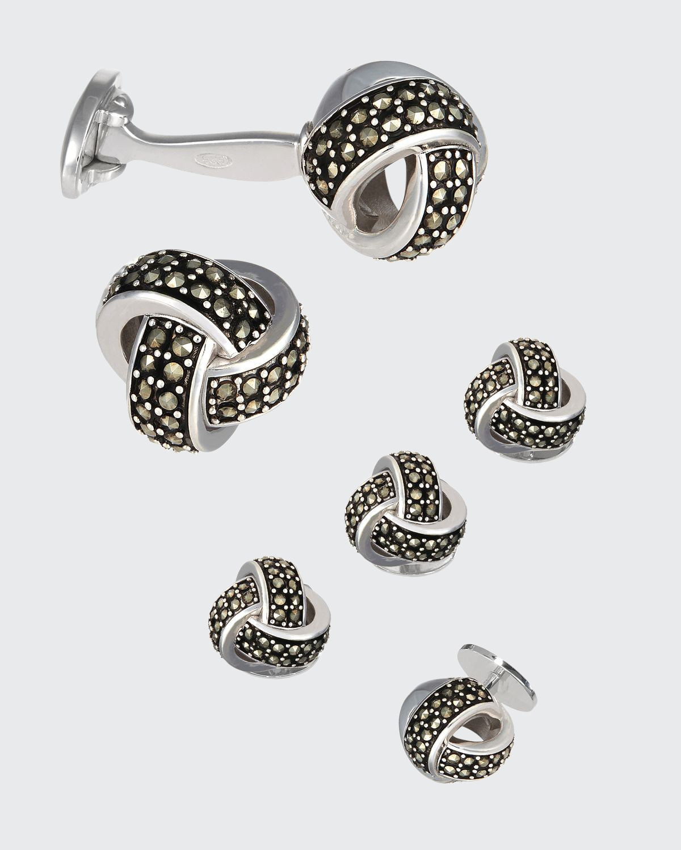 Marcasite Knot Cufflinks & Studs Set