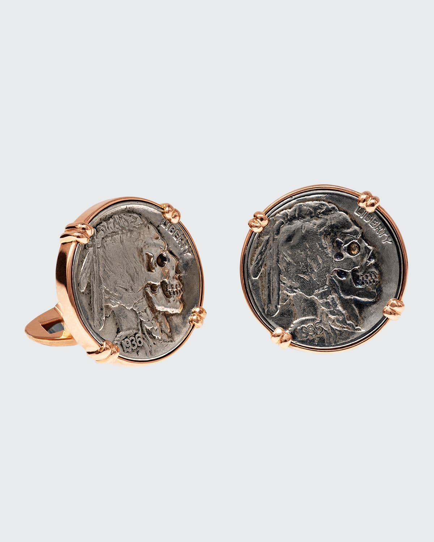 18K Rose Gold Cufflinks w/ Hobo Nickel Coins