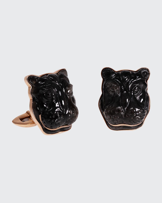 Labradorite Hippo 18K Rose Gold Cufflinks