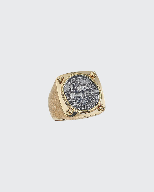 Men's Ancient Neptune Coin 18K Gold Ring