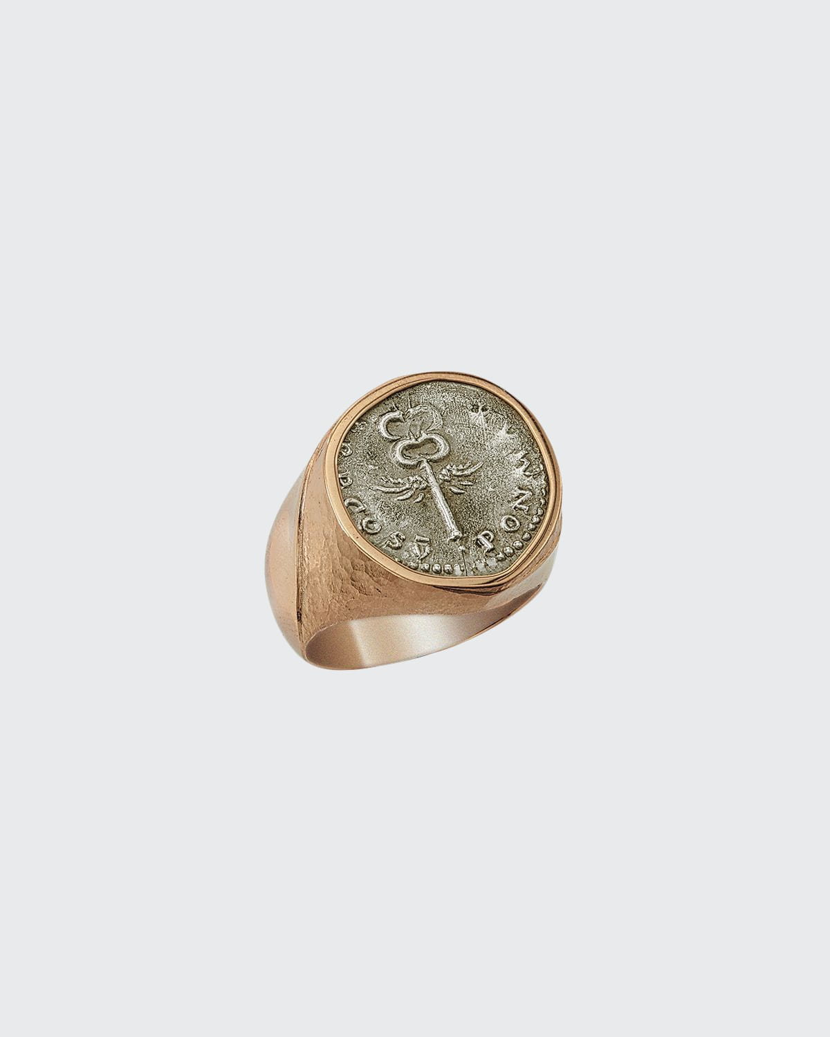 Men's Ancient Winged Caduceus Coin 18K Gold Ring