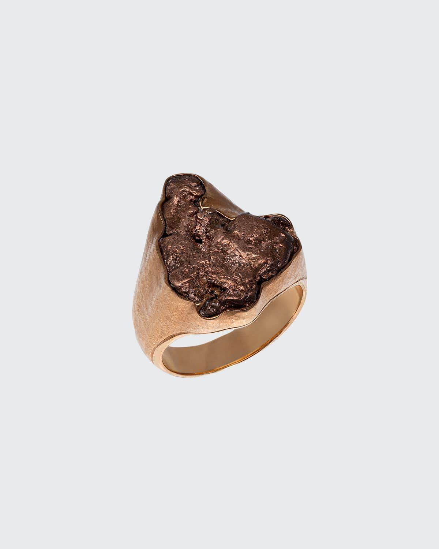 Men's Natural Arizona Copper 18K Gold Ring
