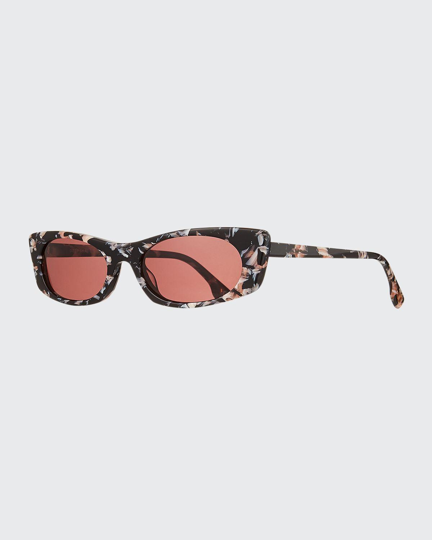 Deep Shade Marbleized Acetate Cat-Eye Sunglasses