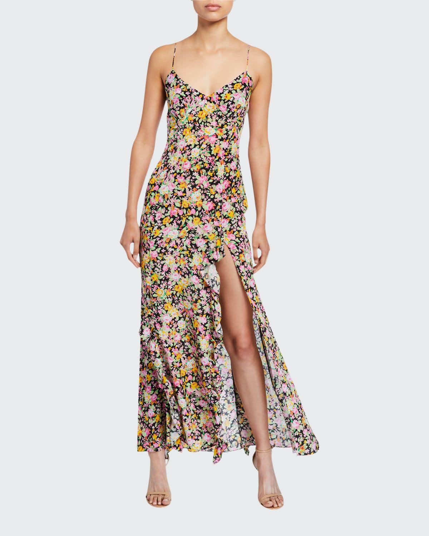 Ruffle Floral-Print Picnic Long Slip Dress