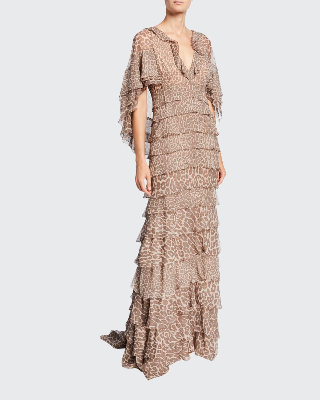 Leopard Print Ruffle-Tiered Chiffon Gown