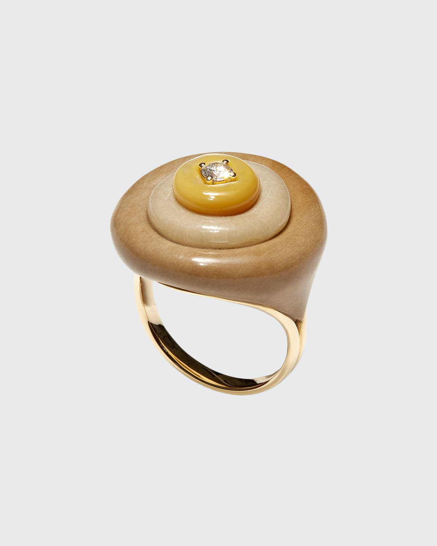 Stacked 18k 1-Diamond Petrified Wood Ring