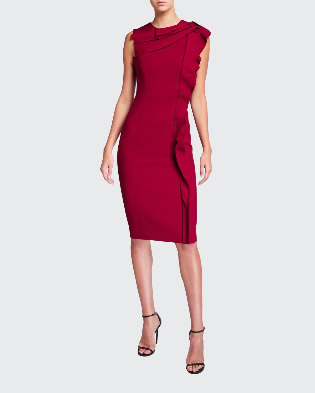 Stretch Crepe Ruffled Day Dress