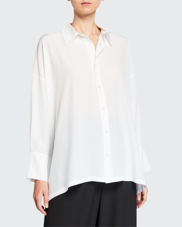 Wide A-Line Back-Pleated Silk Shirt