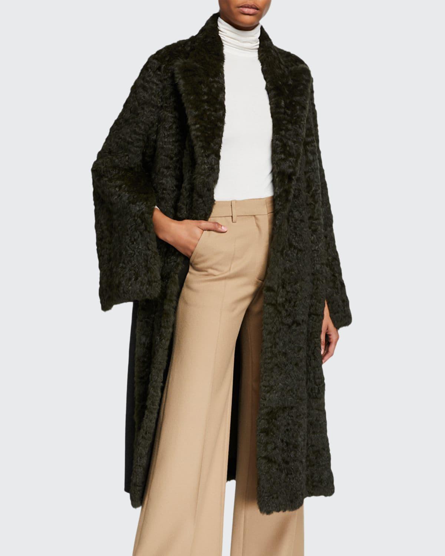 Curly Rabbit Fur Reversible Coat