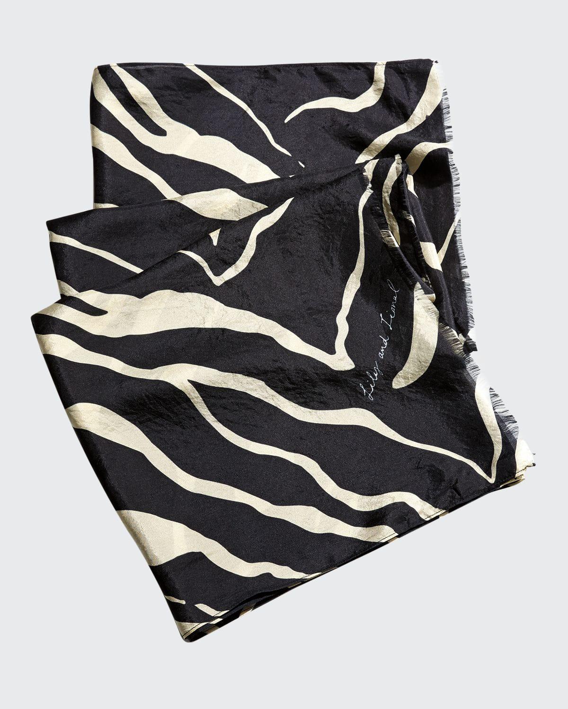 Tiger-Print Fringe Scarf