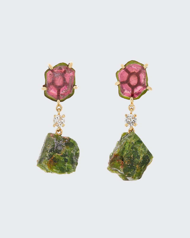 18k Bespoke 2-Tier One-of-a-Kind Luxury Earrings w/ Watermelon Tourmaline
