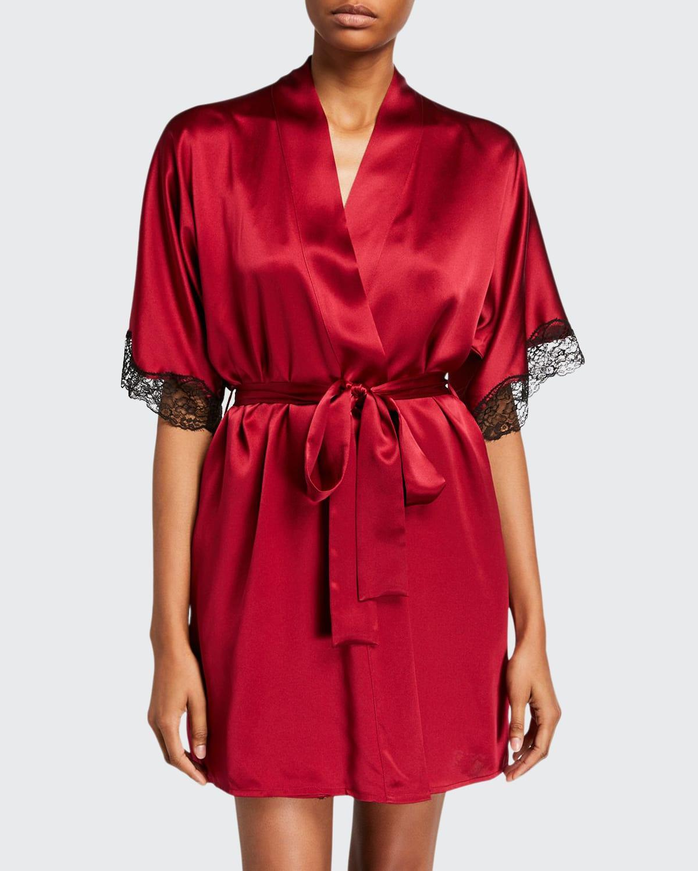 Bijoux Silk Short Robe w/ Lace Trim