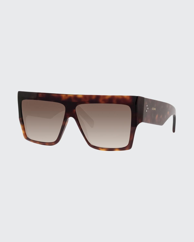 Men's Chunky Rectangle Gradient Havana Sunglasses