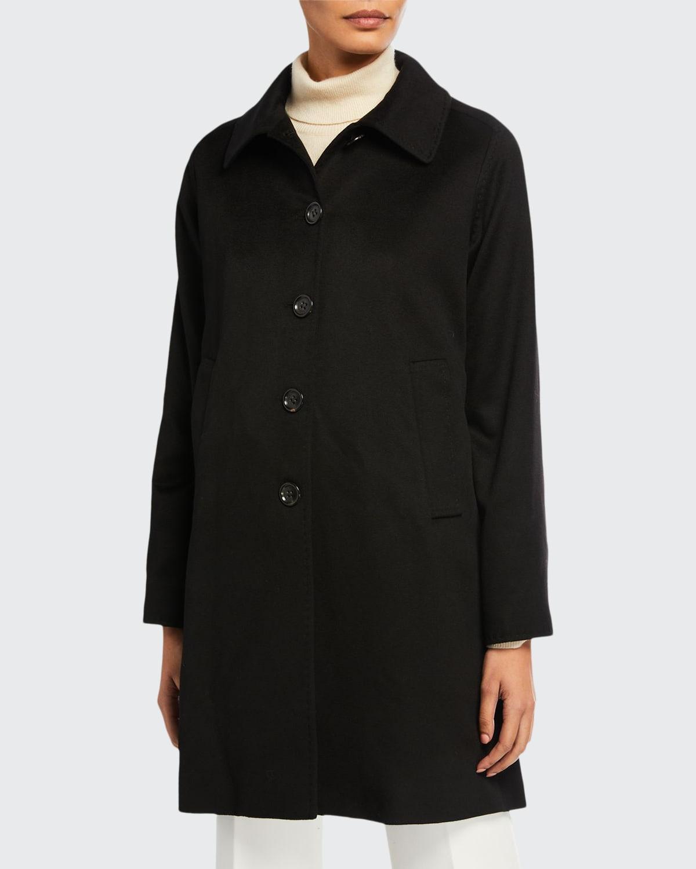 Cashmere A-Line Button-Front Coat