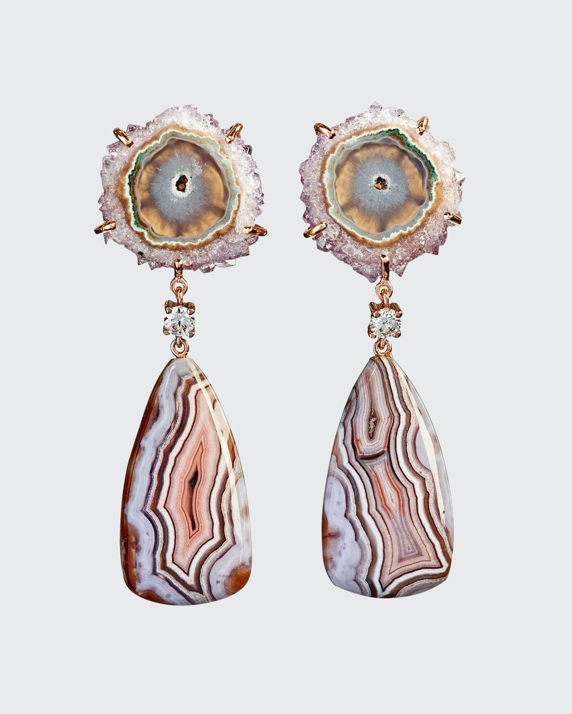 18k Bespoke 2-Tier One-of-a-Kind Luxury Earrings w/ Stalactite