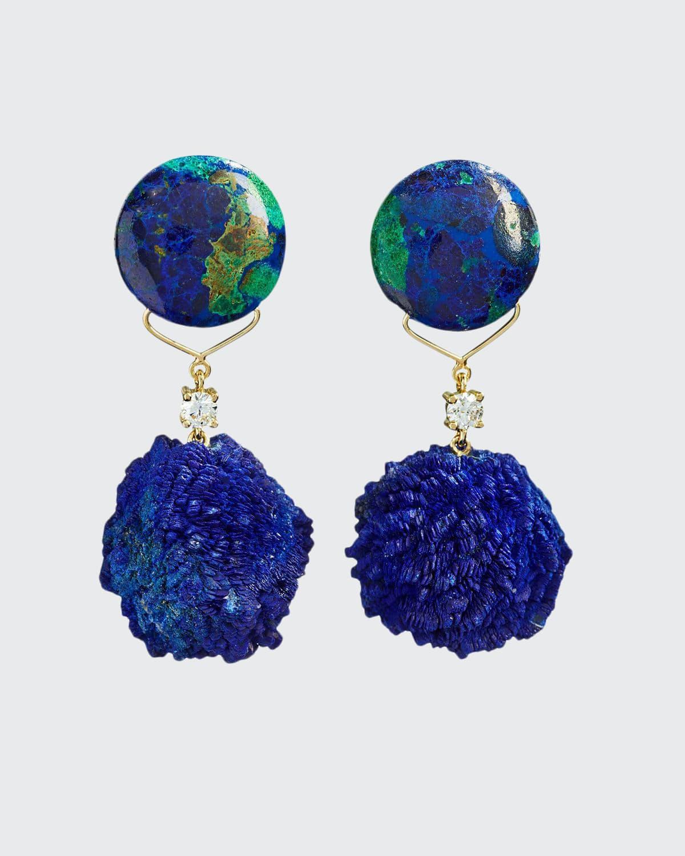 18k Bespoke 2-Tier One-of-a-Kind Luxury Earrings w/ Azurite Malachite
