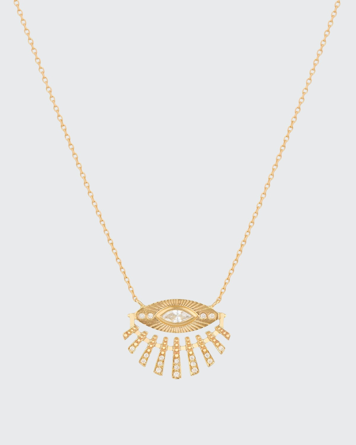 14k Yellow Gold Marquise Diamond and Sun Beams Necklace