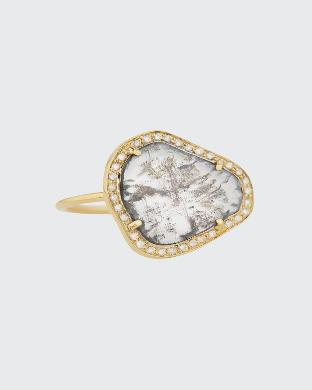 14k Yellow Gold Stella Diamond Slice and Halo Ring