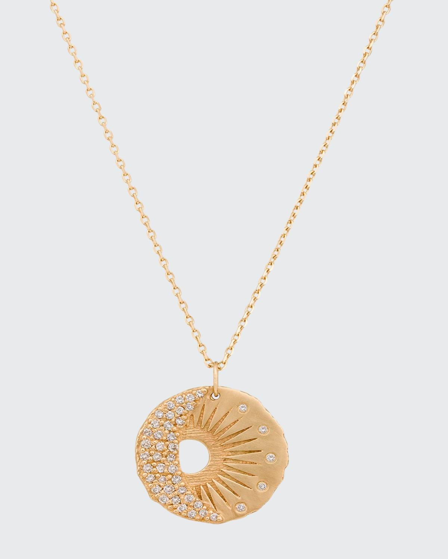 14k Yellow Gold Sun and Moon Diamond Pendant Necklace