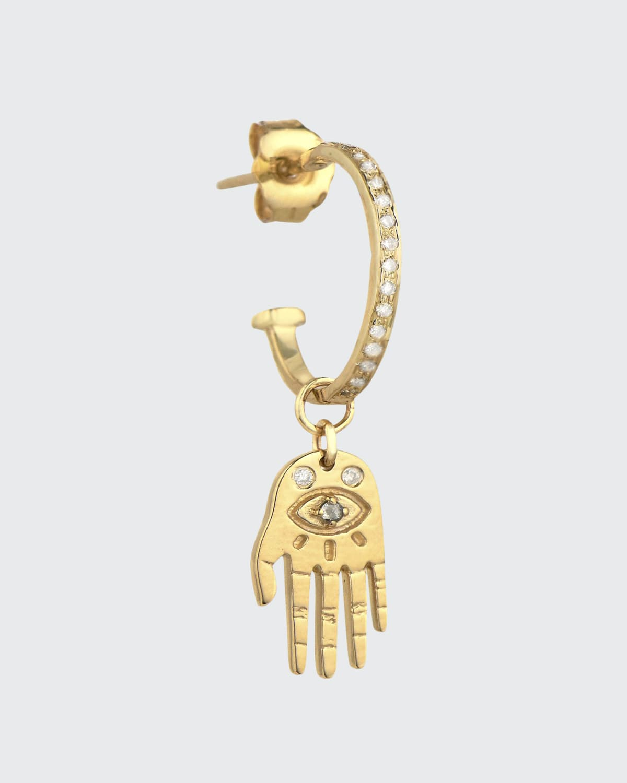 14-karat Yellow Gold Tiny Hand and Diamond Earring