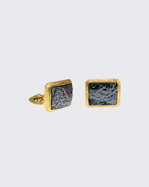 Men's 18K Yellow Gold Hematite Cufflinks