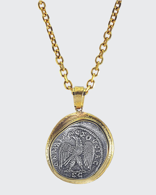 Men's Reversible Ancient Coin 18k Gold Pendant