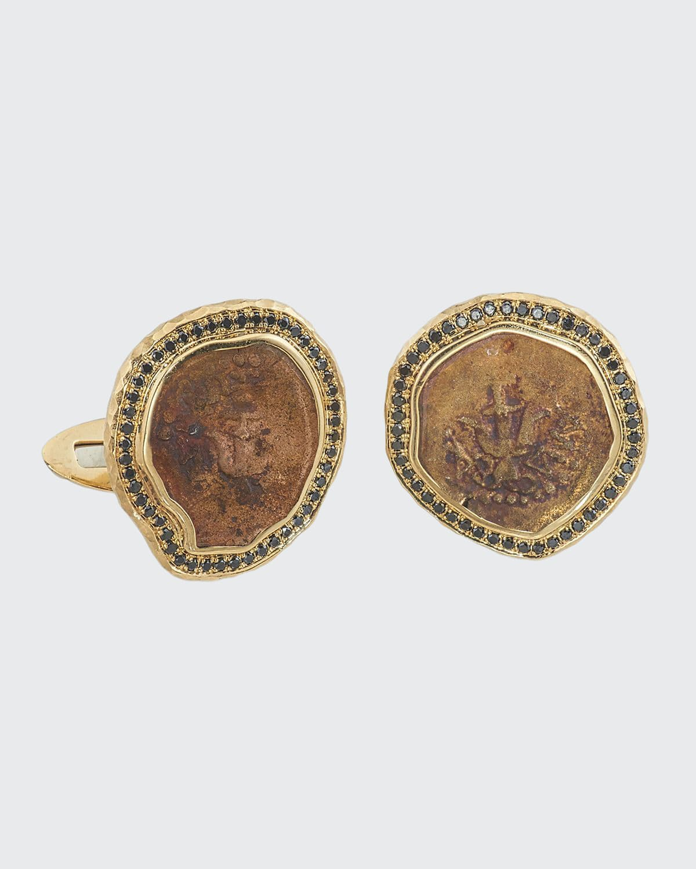 Men's 18k Gold Ancient Coin Cufflinks w/ Black Diamond Trim