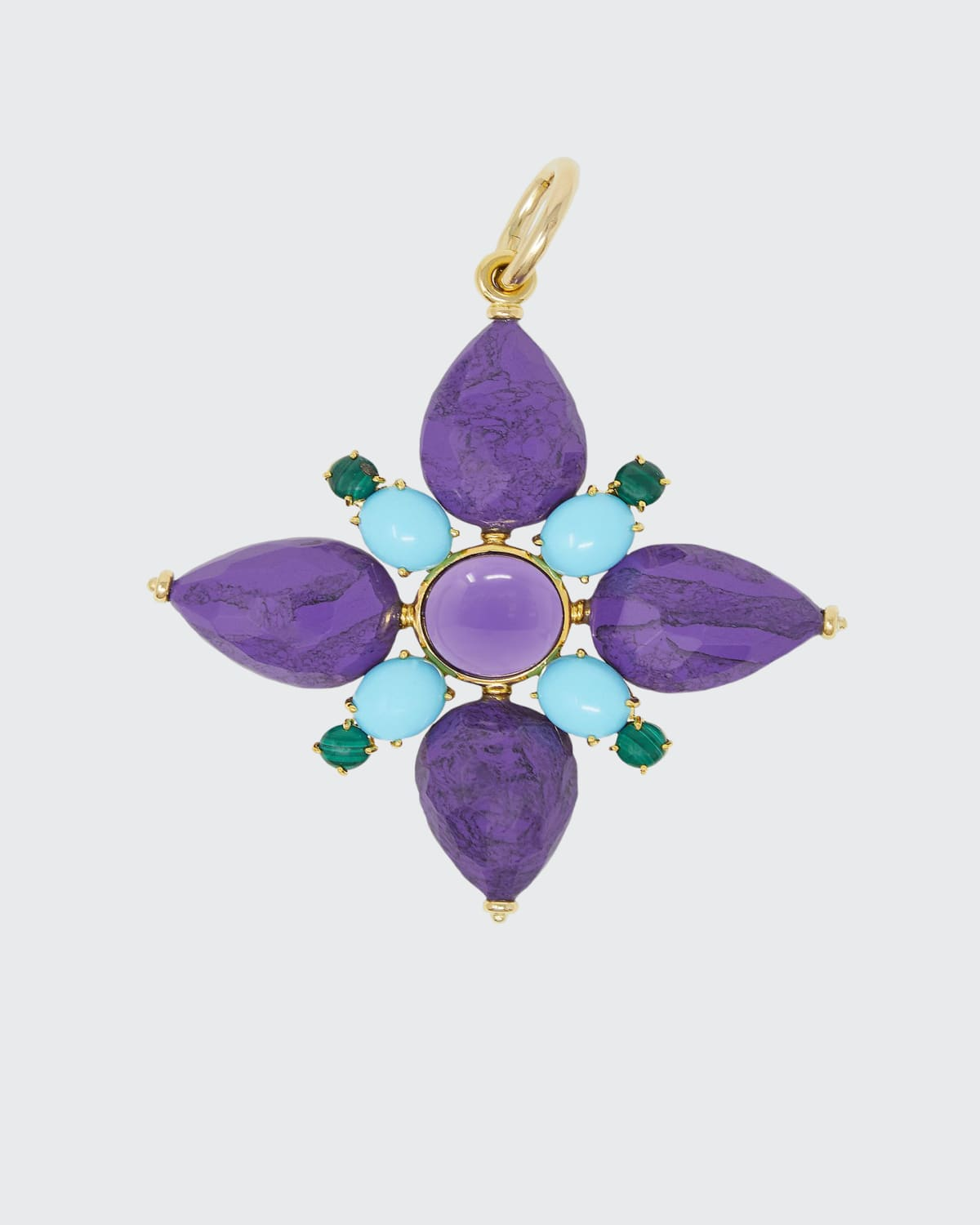 Charm Flower Multicolor Purple Colored Resin Turquoise Paste Malachite Amethyst Yellow Gold Multistring Silk Cord