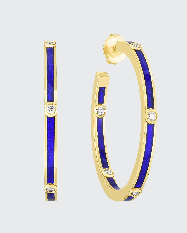Enamel Hoop Earrings w/ Diamonds