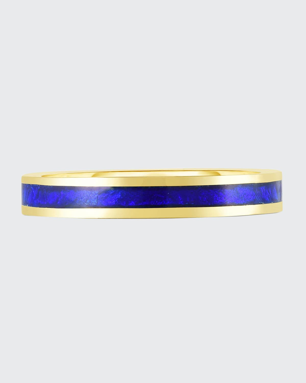 18K Yellow Gold Enamel Stacking Band Ring