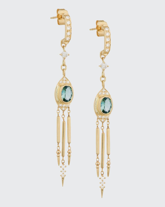 Tourmaline and Diamond Dangle Earring