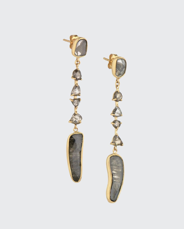 Diamond Slice and Rose-Cut Diamond Earrings