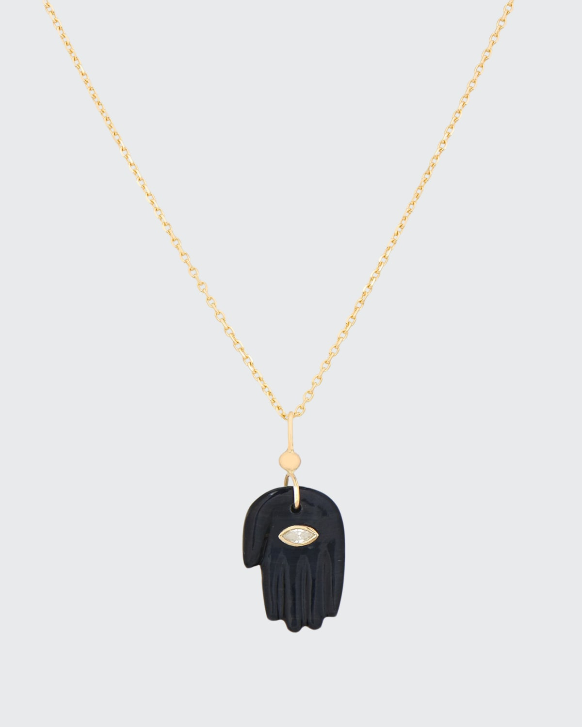 14k Yellow Gold Gray Tiger's Eye Hand and Diamond Necklace